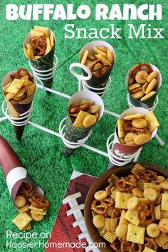 Buffalo Ranch Snack Mix Recipe ~ Classic flavors of Buffalo and Ranch combine in this Snack