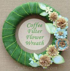 Make this pretty, Coffee Filter Flower Wreath on CraftsnCoffee.com.