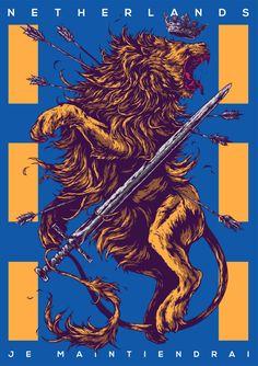 draw, netherland, artists, behance, coat of arms, ivan belikov, birds, coats, country