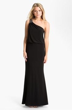 JS Boutique Embellished One Shoulder Jersey Blouson Gown available at #Nordstrom