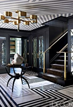 One of my recent residential projects, courtesy of @ELLE DECOR via @StylelistHome #stripes #entryway #decor #interiors