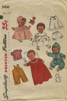 "Vintage Doll Clothes Sewing Pattern | Simplicity 3406 | Year 1950 | For 14"" Doll"