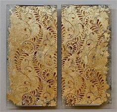 Gilded and stenciled glass art with our Feathered Damask Stencil | Project by Debbie Hayes of Annie Sloan Unfolded