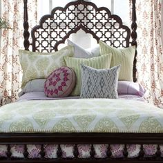 headboard, bed frames, pattern, block prints, duvet covers, white bedding, indian style, dream bed, bedroom