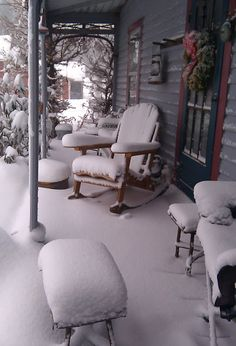 cabin, snow, winter wonderland, storms, porch furniture, outdoor christmas, front porches, winter house, covered porches