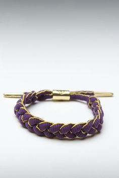 RastaClat Braided Tie Bracelet Purple and Yellow