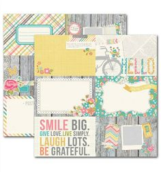 Vintage Bliss 4x6 Horizontal Journaling Card Elements 2 Pattern Paper by Simple Stories