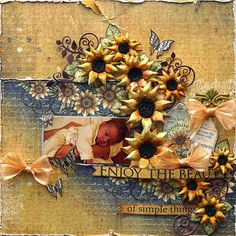 beautiful sunflower baby layout by Susan Smit
