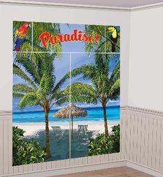 Luau Palm Tree Scene Setter Decoration Set