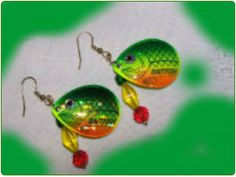 http://diginanchors.com/EarringsAlure_BigBream - Handmade earrings crafted from fishing lures that is made with high grade carbon steel and painted yellow, green, and orange with an image of a fish applied over the colors. The unique earrings are hung on silver-plated clip on or silver-plated earwires made with surgical stainless steel.