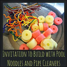 An invitation to build with pool noodles and pipe cleaners from And Next Comes L