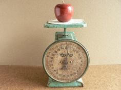 Vintage green kitchen scale. Love!