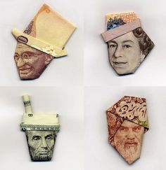 It's not as intricate as Scott Campbell's laser-cut dollar bills, but I still think Japanese artist Hasegawa Yosuke's money origami is incredible. #art #crafts #DIY