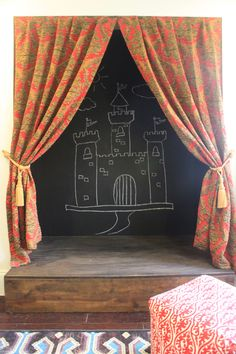 Stage design . . . . use either big rolls of black paper or chalkboard paint