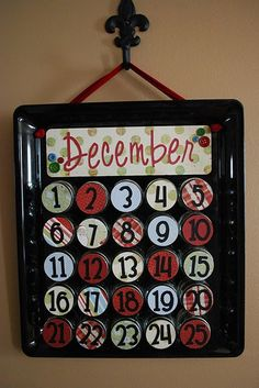 holiday, baby food jars, christmas crafts, craft idea, baby foods, babi food, christmas ideas, jar lids, christmas advent calendars