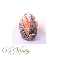 Orange Yellow & Grey Stripe Infinity Scarf $15.00 buy now way www.vsvanity.com