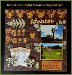 #Cricut Disney Scrapbook Layout, Animal Kingdom's Safari Ride (I miss that place)