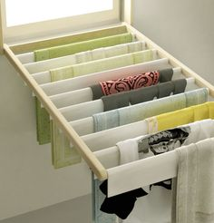 Window Blind that doubles as a clothes drying rack - great space saver for a small place!