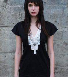 Geometric lace shirt - modern bohemian tunic with loose fit made from night black jersey - small on Etsy, $80.00