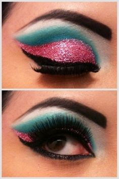 Pink glitter and blue eye shadow make up.    Visit my site Real Techniques brushes makeup -$10 http://youtu.be/QBaVgDtmnlw   #realtechniques #realtechniquesbrushes #makeup #makeupbrushes #makeupartist #makeupeye #eyemakeup #makeupeyes