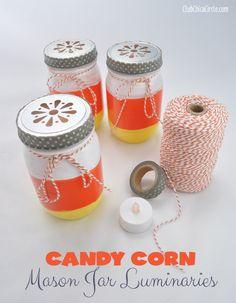 Mason Jar Candy Corn Painted Luminaries Craft @clubchicacircle #HalloweenCrafts