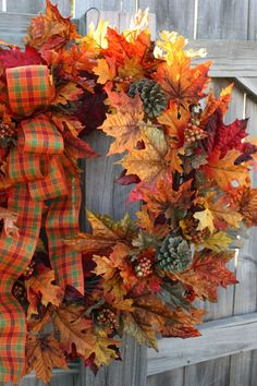 wreath- Fall leaves & pinecones