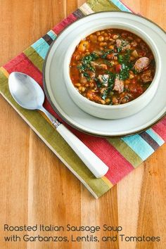 Roasted Italian Sausage Soup with Garbanzos, Lentils, and Tomatoes; this soup freezes well and it has some of my favorite soup ingredients!  [from Kalyn's Kitchen] #GlutenFree  #SouthBeachDiet  #FreezerFriendly