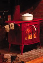 I have this exact Vermont stove in green in my 1880's old Montana log cabin.  It is so cute!!!!