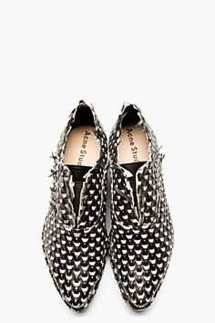 acne studios black & white interwoven leather jax shoes.