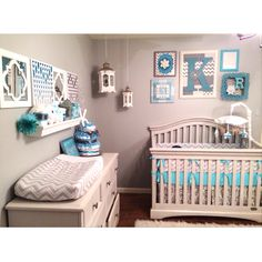 Kinslee's nursery <3  Girl / neutral nursery, gray white teal turquoise nursery, damask, chevron, owls, DIY, white crib, gray walls, bird cage