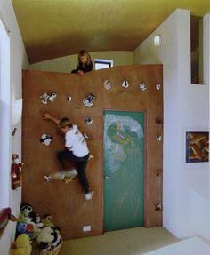 loft bed with climbing wall + chalkboard door
