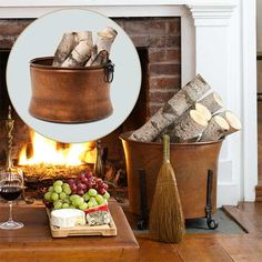 A fireproof copper-plated container will help him keep wood tidy and reflect the fire's glow.  About $145 from Wayfair.com | Photo: Ted Morrison | thisoldhouse.com fire glow, color holiday, cabin fireplace decor, holiday hearth