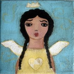 Lil Black Bee- angel painting on canvas