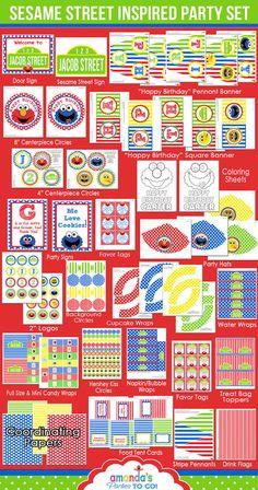 Sesame Street Party Birthday Printables by AmandasPartiesToGo