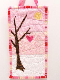 """art quilt- """"Woodland Valentine"""" artquilt, wall art, sew, valentin quilt, art quilt, quilts, pink, woodland valentin, quilt idea"""