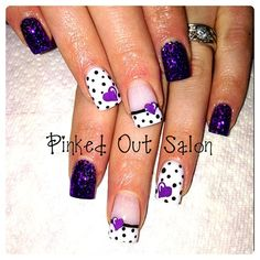 shellac nails purple, heart nails, purpl heart, polka dots, nail art purple, purple nail art, purple nails, nail ideas, polka dot nails