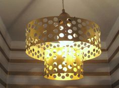 """Holy awesome! """"punched brass pendant light"""" #DIY"""