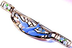 Sterling Posy Pin/Holder - Reticulated Sterling with Enamel Blue Bird & Forget-Me-Not Flowers
