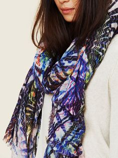 Juma Printed Silk Wool Scarf at Free People Clothing Boutique