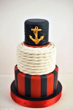 Classic Nautical Cake /// #rope #anchor #cake #stripes #wedding #cake #party #event
