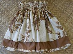 chocolate brown & cream vintage print hula skirt by SewMeHawaii, $50.00