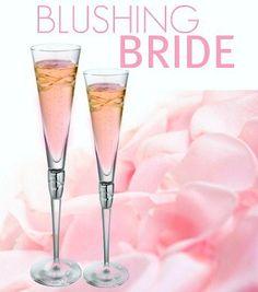 Blushing Bride Cocktail  1 oz Peach Schnapps  1 oz Grenadine  4 oz Champagne  sounds like a good bachelorette or bridal shower drink