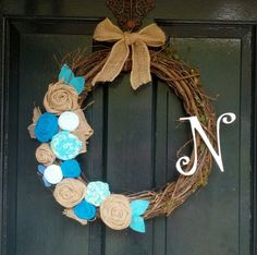Grapevine Wreath with Fabric Flowers and Monogram or Anchor-Front Door Wreath- Wedding Gift- Year Round Wreath- on Etsy, $34.95
