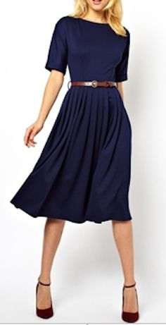 Love this midi dress with full skirt http://rstyle.me/n/f84icnyg6