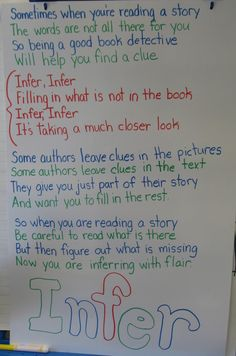 Love this inferring song. Tune is to My Bonnie Lies Over the Ocean. It's on a fantastic reader's workshop website called thelearningpad.net. It has so many fantastic ideas!
