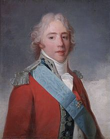Charles X (Charles Philippe; 9 October 1757 – 6 November 1836) was known for most of his life as the Comte d'Artois before he reigned as King of France and of Navarre from 16 September 1824 until 2 August 1830.[1] A younger brother to Kings Louis XVI and Louis XVIII, he supported the latter in exile and eventually succeeded him. His rule of almost six years ended in the July Revolution of 1830, which frustrated his attempts to keep the crown in the senior branch of the House of Bourbon.