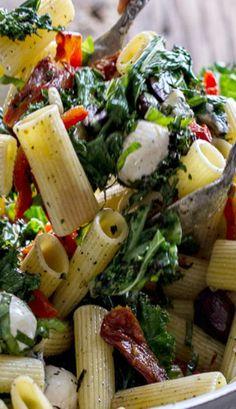 Grilled Kale and Veggie Tuscan Pasta Salad