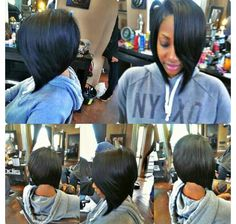 Quick weave bob with side swoop...This was the cut I always wanted to do when my hair was relaxed. I'm not one for weaves but this looks great.