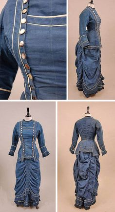 Blue and white challis walking gown, ca. 1875. Long bodice with double row of buttons to each side and white piping. Ruched and gathered skirt over wired bustle. Kerry Taylor Auctions/Invaluable