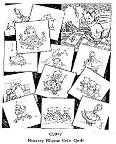 nurseri rhyme, embroidery patterns, craft, embroideri pattern, quilt blocks, free redwork